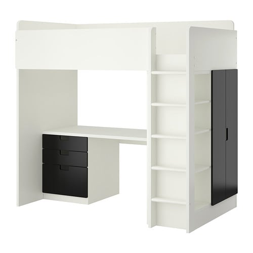 stuva agenc lit mezz 3 tir 2ptes blanc noir ikea. Black Bedroom Furniture Sets. Home Design Ideas