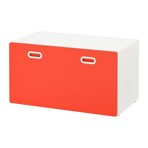 stuva fritids banc avec rangement jouets blanc rouge. Black Bedroom Furniture Sets. Home Design Ideas