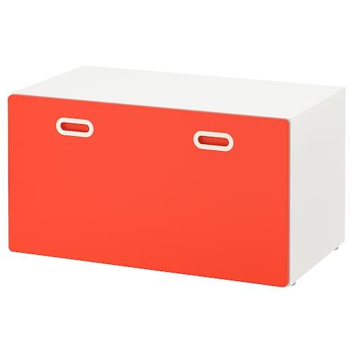 "STUVA / FRITIDS banc avec rangement jouets blanc/rouge 35 3/8 "" 19 5/8 "" 19 5/8 """