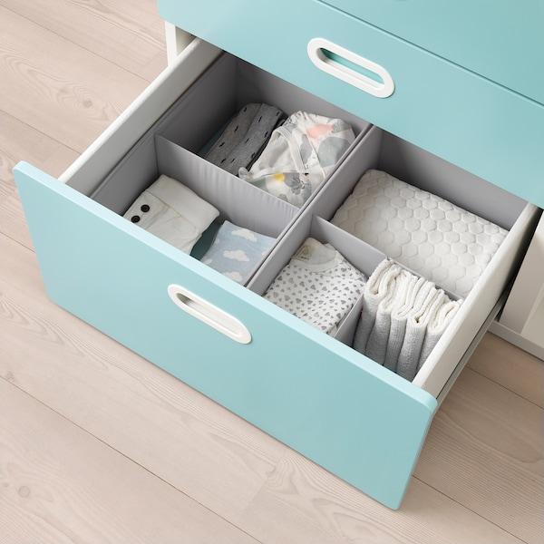 stuva fritids table langer tiroirs blanc bleu clair ikea