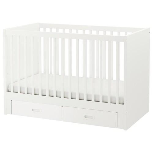 "STUVA / FRITIDS lit bébé à tiroirs blanc 54 3/4 "" 29 1/8 "" 36 1/4 "" 27 1/2 "" 52 "" 50 lb"