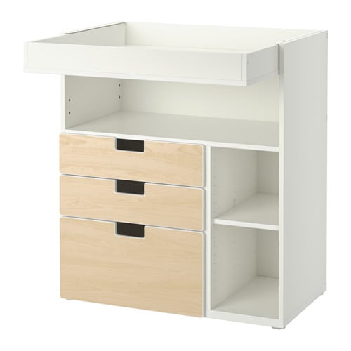 stuva table langer 3 tiroirs blanc bouleau ikea. Black Bedroom Furniture Sets. Home Design Ideas