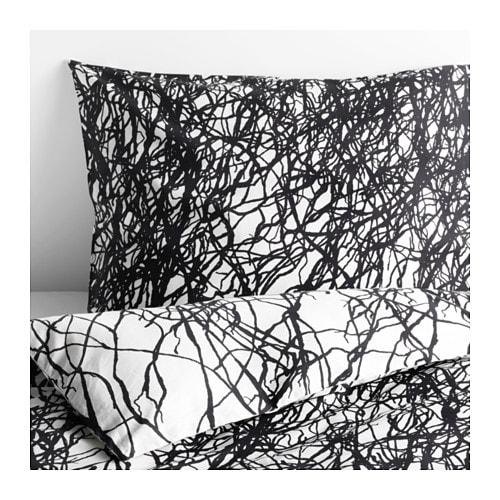 sv rtan housse de couette et taie s blanc noir une. Black Bedroom Furniture Sets. Home Design Ideas