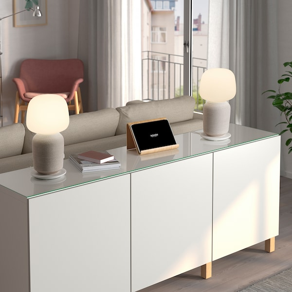 SYMFONISK Lampe table haut-parleur wifi int, blanc