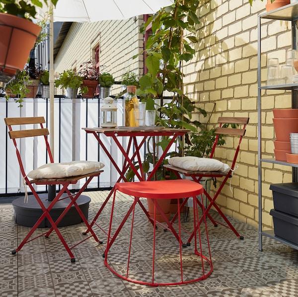 TÄRNÖ Table+2 chaises, extérieur, rouge/teinté brun clair