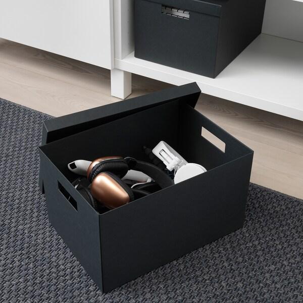 """TJENA Boîte de rangement avec couvercle, noir, 9 ¾x13 ¾x7 ¾ """""""