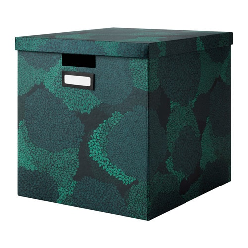 TJENA Boîte avec couvercle, bleu-noir