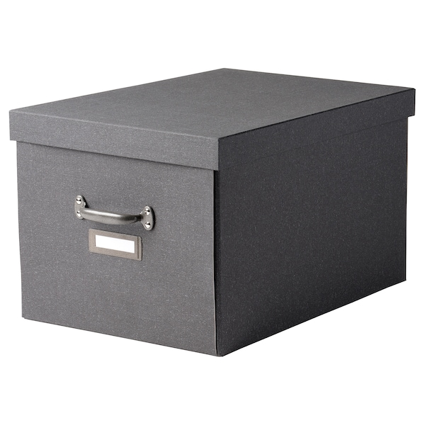 """TJOG Boîte de rangement avec couvercle, gris foncé, 13 ¾x22x11 ¾ """""""