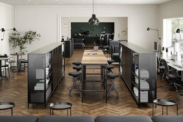 "TOMMARYD Table, chêne plaqué blanchi/anthracite, 51 1/8x27 1/2x41 3/8 """