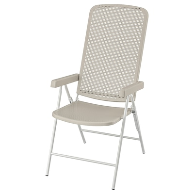 TORPARÖ Chaise dossier inclinable, ext, blanc/beige