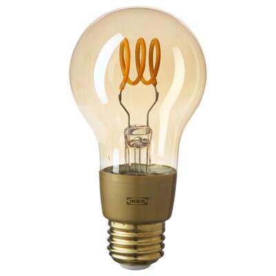 TRÅDFRI Ampoule à DEL E26 250 lumens, variateur d'intensité sans fil lumière chaude/sphérique verre clair brun