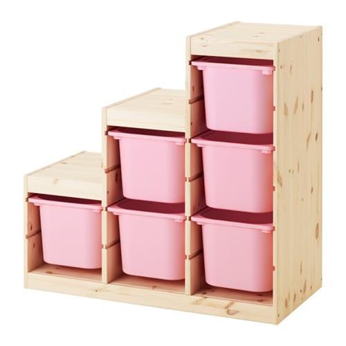 Trofast Meuble De Rangement Pin Teinte Blanc Clair Rose Ikea