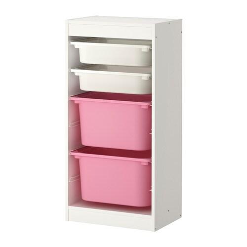 Trofast rangement bo tes blanc rose ikea - Etagere avec bac rangement pour jouet ...
