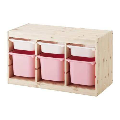 trofast rangement bo tes pin teint blanc clair blanc rose ikea. Black Bedroom Furniture Sets. Home Design Ideas