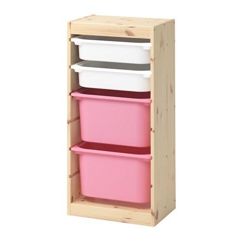 trofast rangement bo tes pin teint blanc clair blanc rose ikea. Black Bedroom Furniture Sets. Home Design Ideas