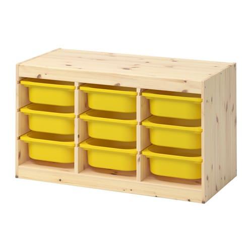 trofast rangement bo tes pin teint blanc clair jaune ikea. Black Bedroom Furniture Sets. Home Design Ideas