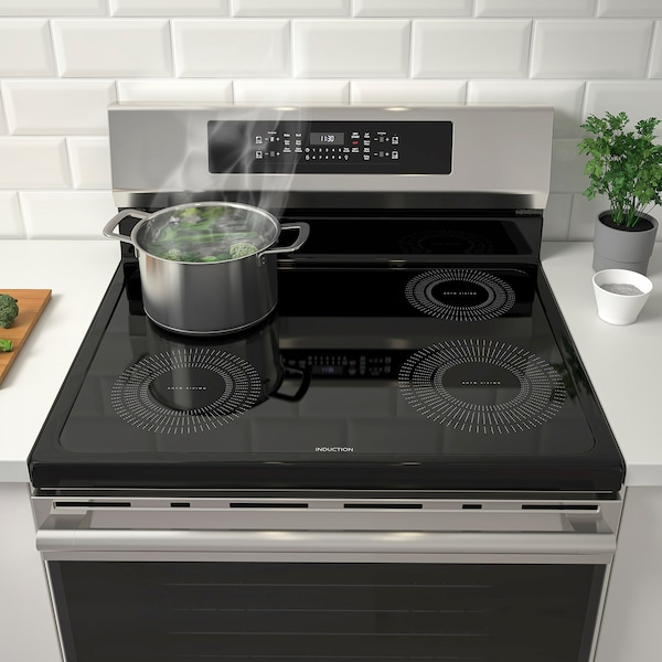 TVÄRSÄKER Cuisinière à tabl cuisson induction, acier inox