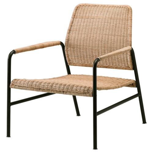 "ULRIKSBERG fauteuil rotin/anthracite 29 7/8 "" 26 3/8 "" 29 1/8 "" 29 7/8 "" 7 7/8 "" 2 1/2 "" 21 1/4 "" 23 5/8 "" 23 5/8 "" 14 5/8 "" 243 lb"