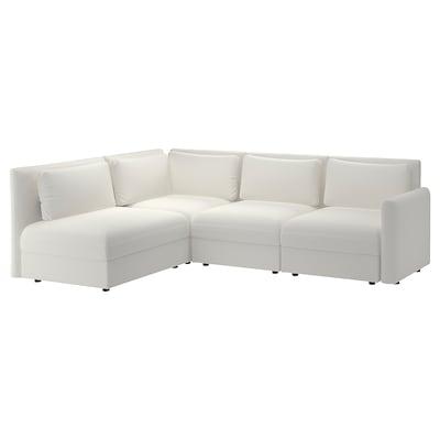 VALLENTUNA Canapé d'angle modulaire, 3 places, avec rangement/Murum blanc