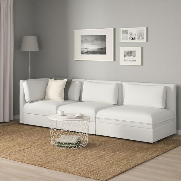 VALLENTUNA Canapé modulaire 3 pl avec can-lit, à un seul accoudoir/Murum blanc