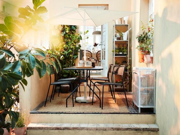 VIHOLMEN Table+4 chaises, extérieur, gris foncé/gris foncé