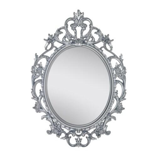 Vikersund miroir ovale gris argent ikea for Miroir gris argent