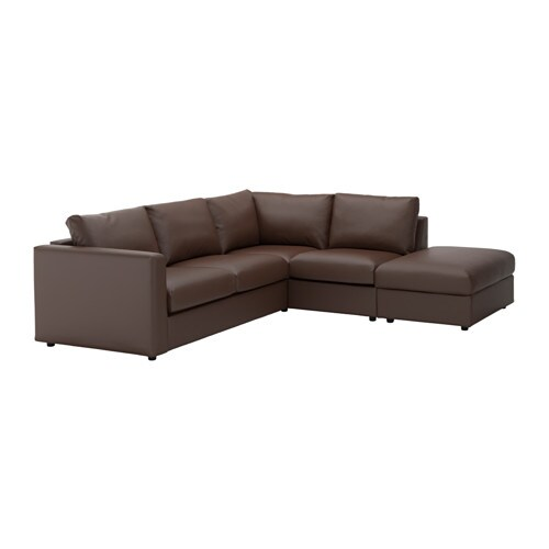 VIMLE Canapé d'angle, 4 places, sans accoudoir, Farsta brun foncé sans accoudoir/Farsta brun foncé