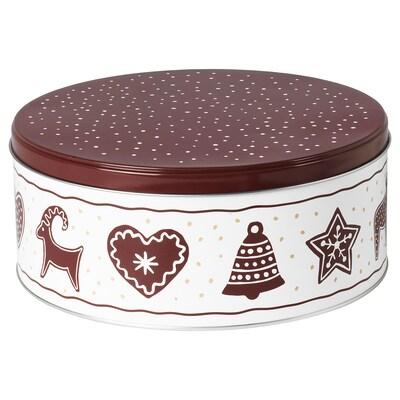 VINTER 2020 Boîte métallique à couvercle, motif pain d'épices blanc/brun