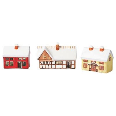 VINTER 2020 Décoration forme maison, 3 pièces, multicolore