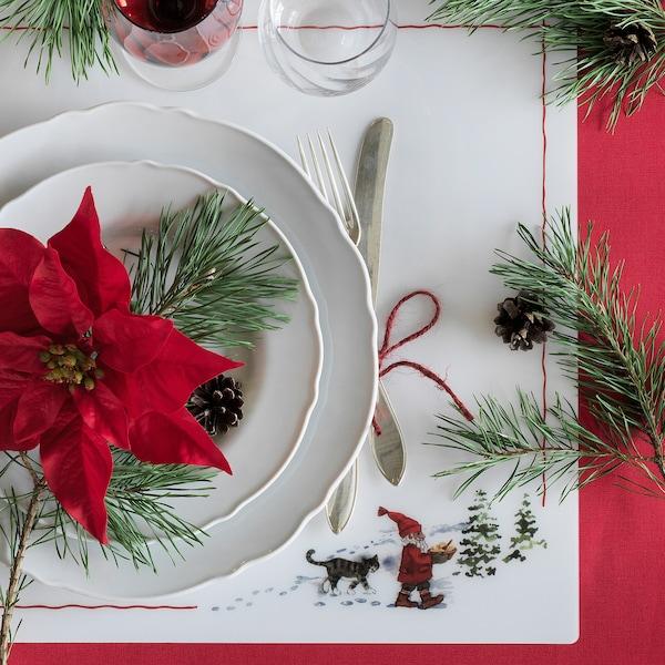 "VINTER 2020 Napperon, motif Père Noël blanc/rouge, 14 ½x14 ½ """
