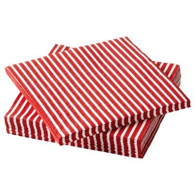 """VINTER 2020 Serviette en papier, motif rayé rouge/blanc, 9 ½x9 ½ """""""