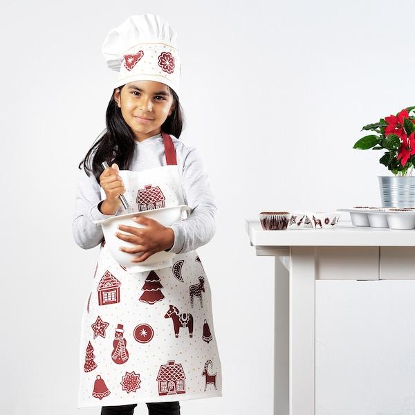 VINTER 2020 Tablier enfant, motif pain d'épices blanc/brun, 4-7