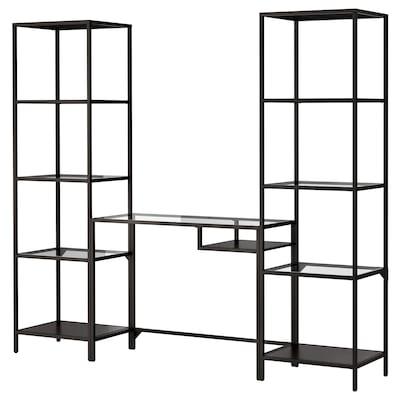 """VITTSJÖ Étagère et table pr ordi portable, brun-noir/verre, 79 1/2x14 1/8x68 7/8 """""""
