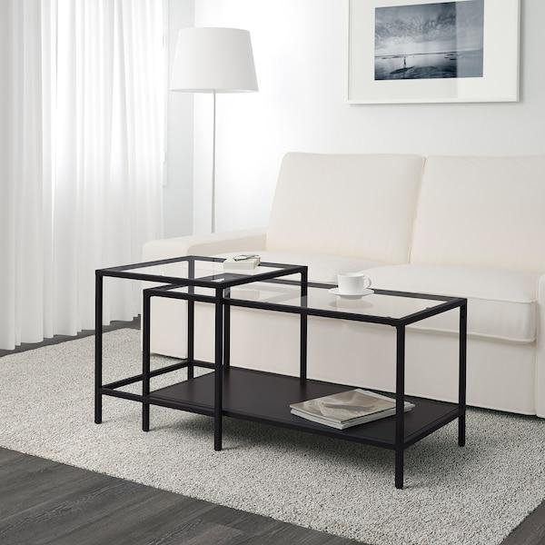 "VITTSJÖ tables gigognes, 2 pièces brun-noir/verre 35 3/8 "" 19 5/8 "" 19 5/8 """
