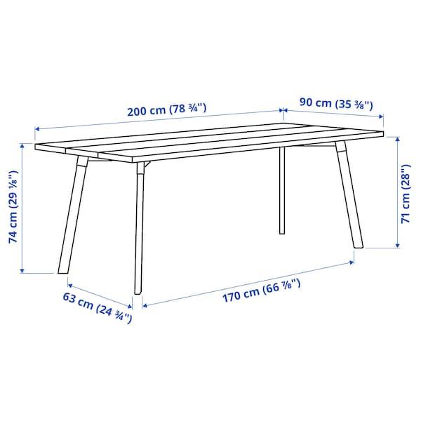 "YPPERLIG Table, frêne, 78 3/4x35 3/8 """