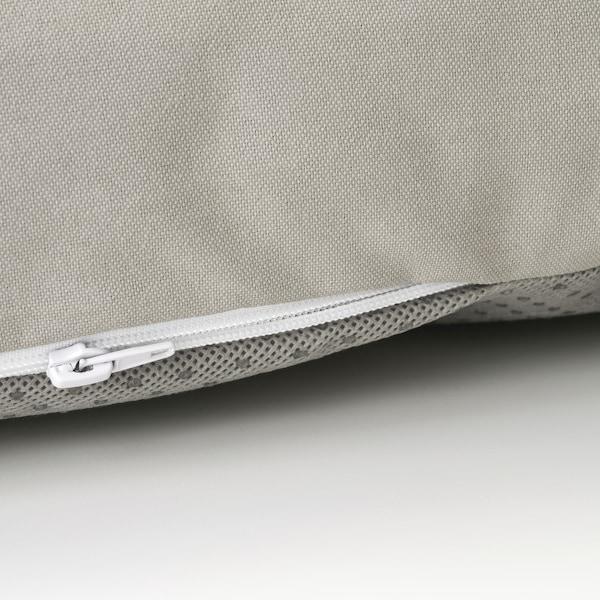 ÄPPLARÖ 3er-Sitzelement/außen, mit Hocker braun las./Kuddarna grau, 143/223x80x80 cm