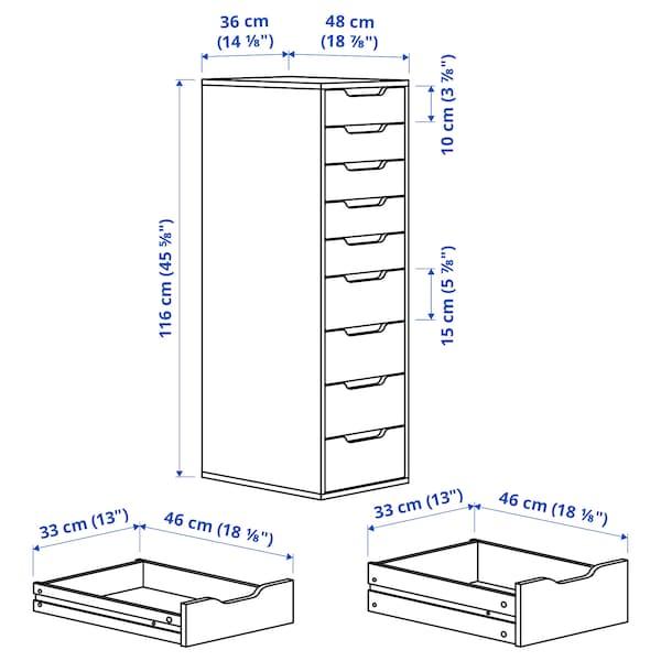 ALEX Schubladenelement, 9 Schubladen, grautürkis, 36x116 cm