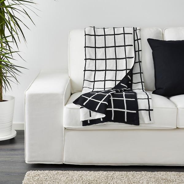 ALMALIE Plaid schwarz/weiß 170 cm 130 cm