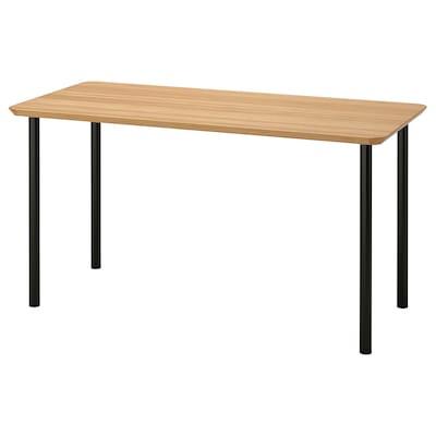 ANFALLARE / ADILS Schreibtisch, Bambus/schwarz, 140x65 cm