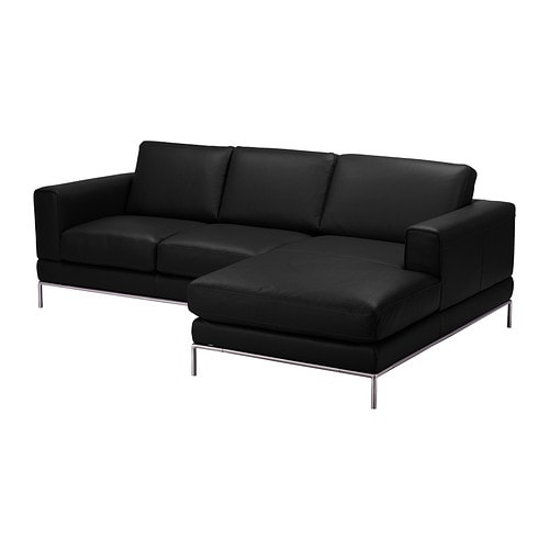 arild 2er sofa mit r camiere rechts bomstad schwarz ikea. Black Bedroom Furniture Sets. Home Design Ideas