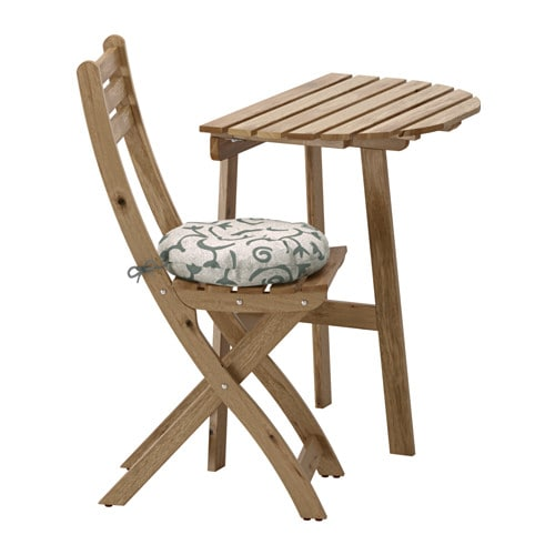 Wandtisch + Klappstuhl / außen, graubraun lasiert, Stegön beige, beige Stegön