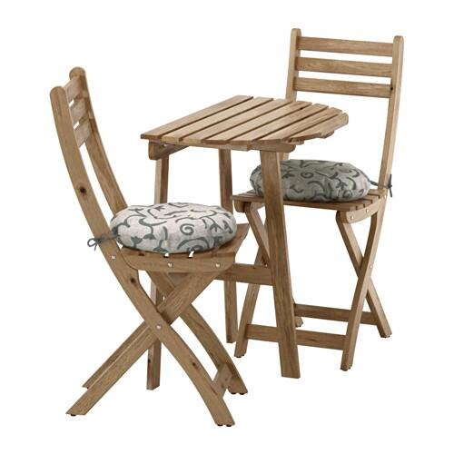 Wandtisch+2 Klappstühle / außen, grau / braun, Stegön beige, beige Stegön