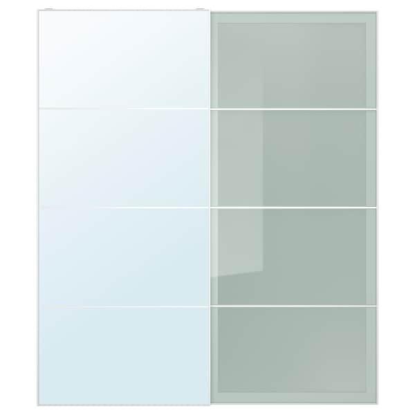 AULI / SEKKEN Schiebetürpaar, Spiegelglas/Frostglas, 200x236 cm