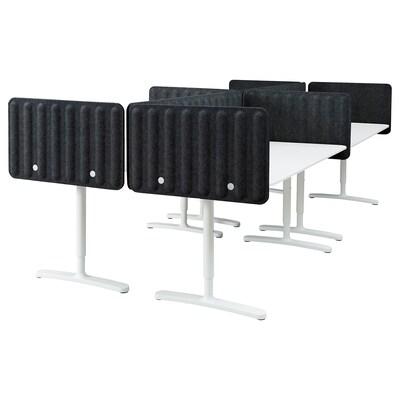BEKANT Schreibtisch mit Abschirmung weiß/dunkelgrau 48 cm 320 cm 160 cm 100 kg