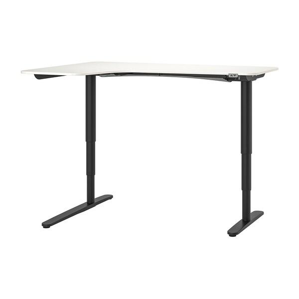 BEKANT Ecktisch links sitz-/steh, weiß/schwarz, 160x110 cm