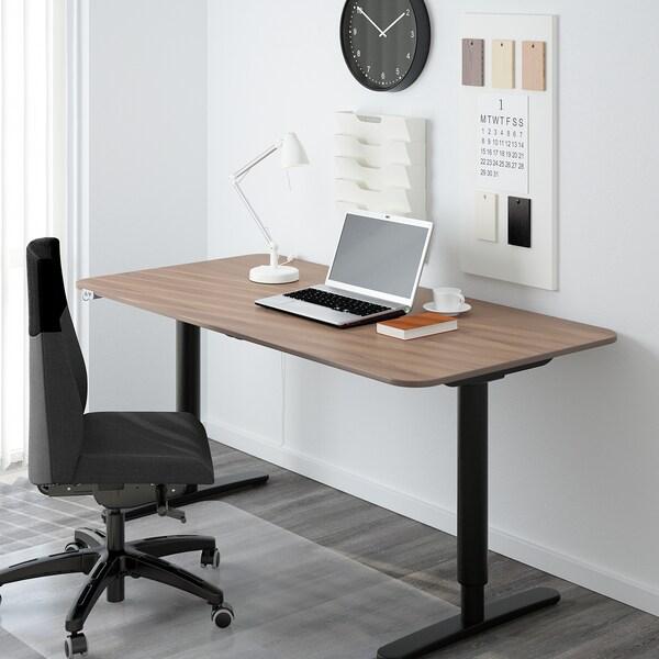 BEKANT Gest. f Tisch sitz/steh el., schwarz, 160x80 cm