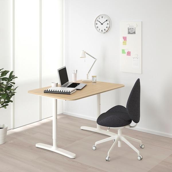 BEKANT Schreibtisch, Eichenfurnier weiß lasiert/weiß, 120x80 cm