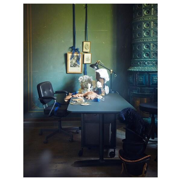 BEKANT Schreibtisch sitz/steh, Linoleum blau/schwarz, 160x80 cm