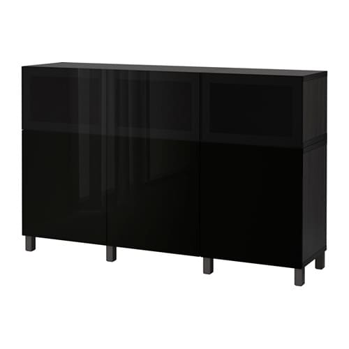best aufbewahrung mit t ren schwarzbraun selsviken glassvik hochglanz rauchglas schwarz ikea. Black Bedroom Furniture Sets. Home Design Ideas