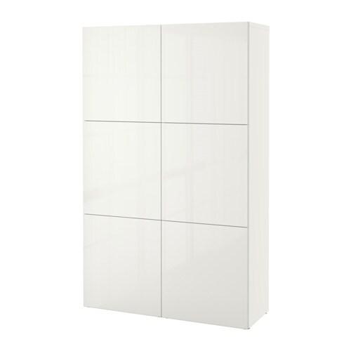 BESTÅ Aufbewahrung mit Türen - weiß/Selsviken Hochglanz/weiß - IKEA